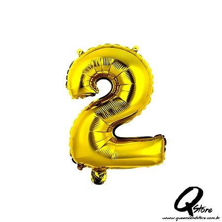 Balão Metalizado Dourado  Nº2 - 41cm