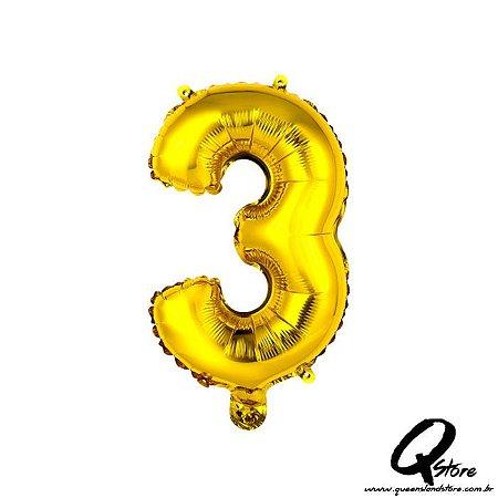 Balão Metalizado Dourado  Nº3 - 41cm