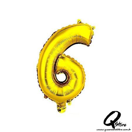 Balão Metalizado Dourado  Nº6 - 41cm