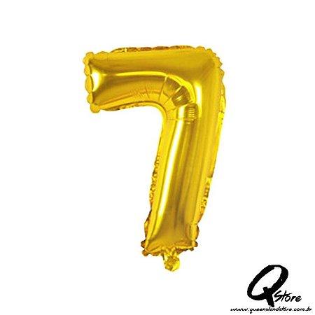 Balão Metalizado Dourado  Nº7 - 41cm