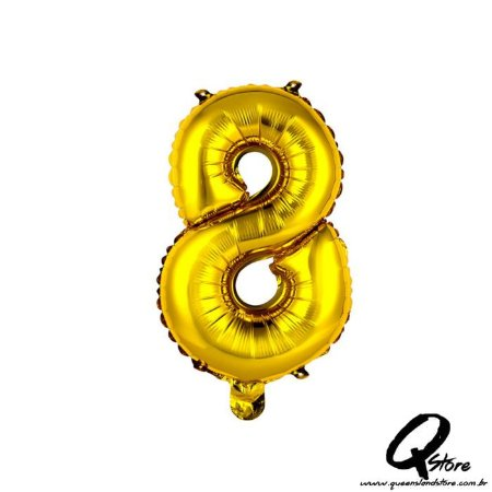 Balão Metalizado Dourado  Nº8 - 41cm