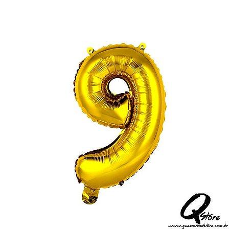Balão Metalizado Dourado  Nº9 - 41cm