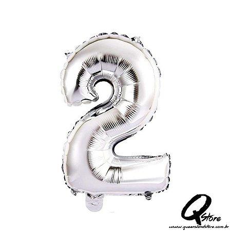 Balão Metalizado Prata Nº2 - 41cm