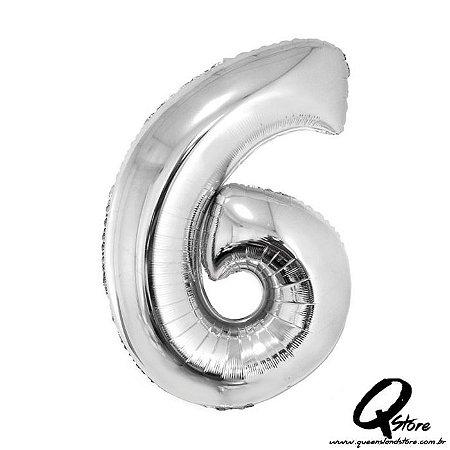 Balão Metalizado Prata Nº6 - 41cm