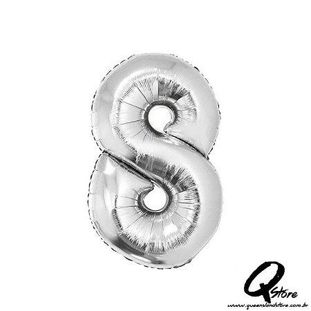 Balão Metalizado Prata Nº8 - 41cm
