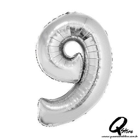 Balão Metalizado Prata Nº9 - 41cm