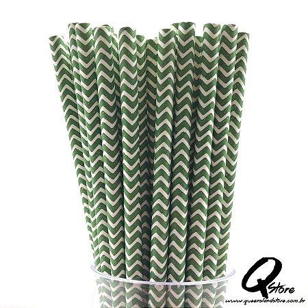 Canudos de Papel Ondulado Verde c/ 25 unid