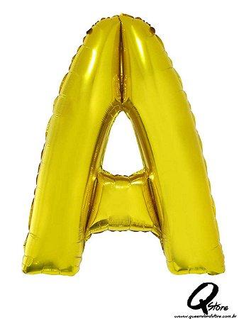 Balão Metalizado Dourado Letra A- 41cm