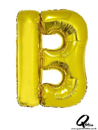 Balão Metalizado Dourado Letra B- 41cm