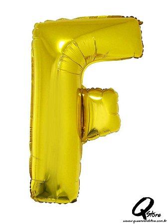 Balão Metalizado Dourado Letra F- 41cm