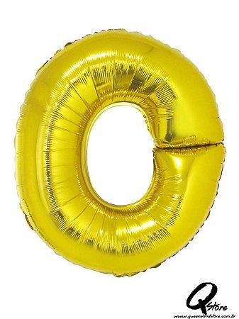 Balão Metalizado Dourado Letra O- 41cm