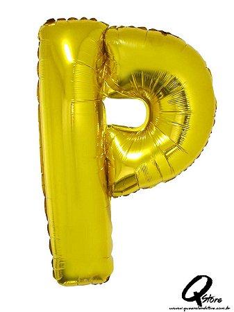 Balão Metalizado Dourado Letra P- 41cm