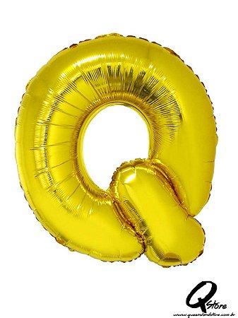 Balão Metalizado Dourado Letra Q- 41cm