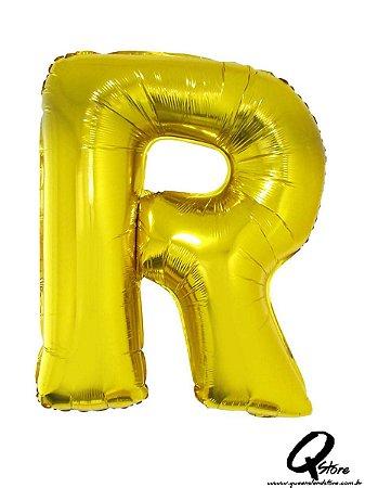 Balão Metalizado Dourado Letra R- 41cm