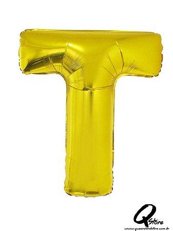 Balão Metalizado Dourado Letra T- 41cm