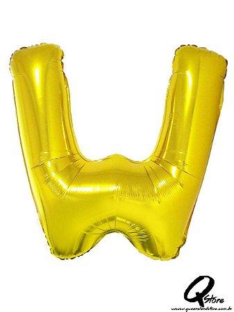 Balão Metalizado Dourado Letra W- 41cm
