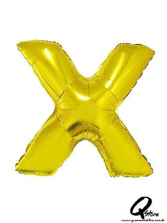 Balão Metalizado Dourado Letra X- 41cm