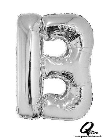 Balão Metalizado Prata Letra B- 41cm