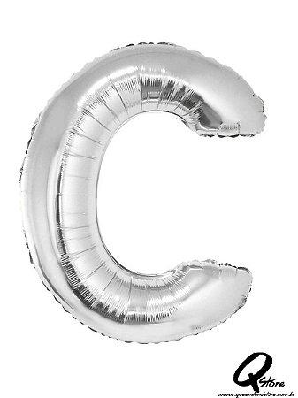 Balão Metalizado Prata Letra C- 41cm
