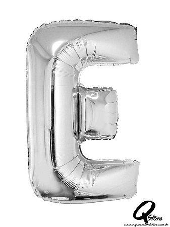 Balão Metalizado Prata Letra E- 41cm