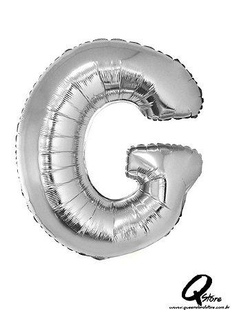 Balão Metalizado Prata Letra G- 41cm