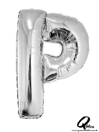 Balão Metalizado Prata Letra P- 41cm