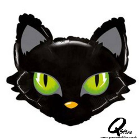 "Balão Metalizado Mighty Cat Head - Grabo Intl. - 28"" (Aprox. 71 cm)"