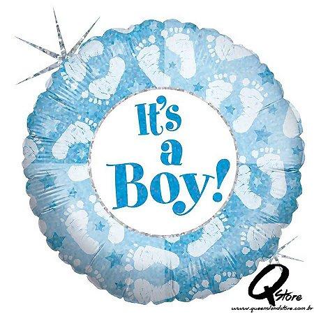 "Balão Metalizado It's a Boy Footprints - Grabo Intl - 18"" (Aprox. 45 cm)"