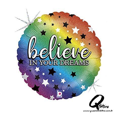 "Balão Metalizado Rainbow Believe– Grabo - 18"" (Aprox 46 cm)"