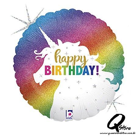 "Balão Metalizado Glitter Unicorn Birthday – Grabo - 18"" (46 cm)"
