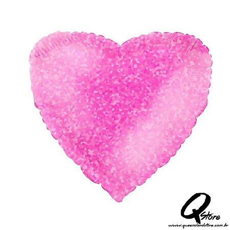 """Balão Metalizado Coração Hologlitter Pink – Grabo - 18"""" (Aprox. 45 cm)"""