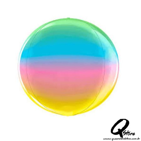 """Balão Metalizado Globe Rainbow 4D  15""""/38 cm  – Grabo"""