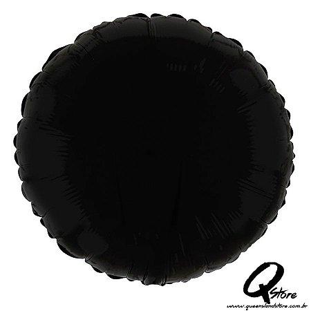 """Balão Metalizado Redondo Preto  - 20"""" (Aprox 50 cm)"""