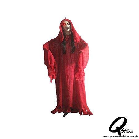 Boneco Halloween Mulher de Vermelho 155CM X 40CM - 1 Unidade