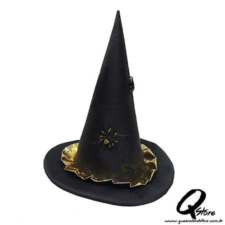 Chapéu Bruxa Babado Dourado