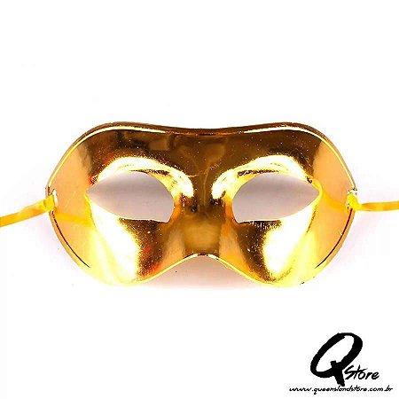 Máscara Veneziana Lisa Metalizada- Amarela