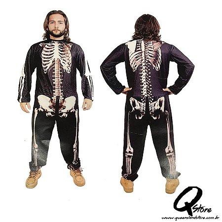 Fantasia Macacão Simples Esqueleto  -Halloween