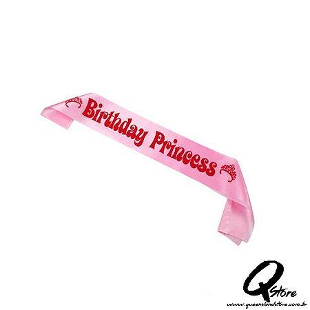 Faixa de Aniversário Princesa Rosa