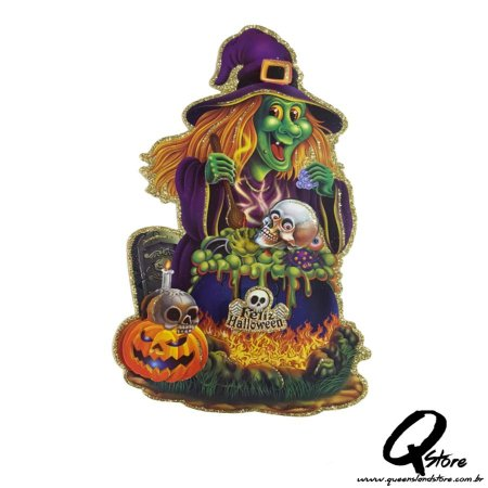 Placa Halloween - Bruxa Verde