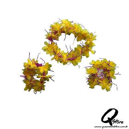 Kit Havaiano - Coroa E Pulseira Amarelo