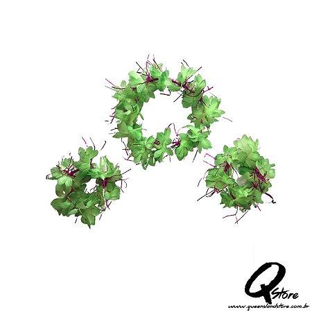 Kit Havaiano - Coroa E Pulseira Verde