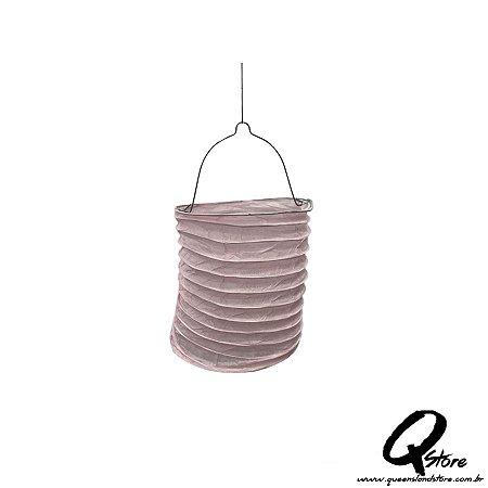 Lanterna de Papel  c/ suporte de Vela de Led  - Rosa