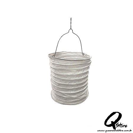 Lanterna de Papel  c/ suporte de Vela de Led  - Branco