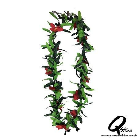 Colar Havaiano Luxo Flores Vermelho- Unidade