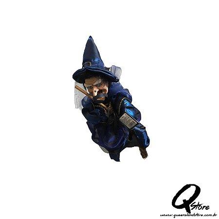 Bruxinha c/ Movimento Halloween Azul  - 1 Unidade