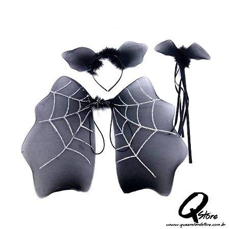 Kit Asa de Morcego Infantil - Preta
