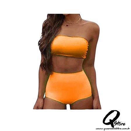 Conjunto Hot Pants c/ Bojo Neon - Laranja