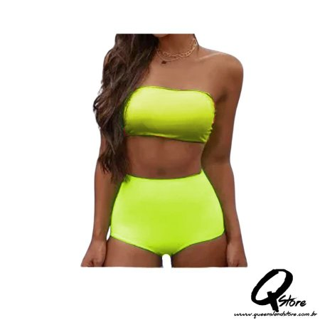 Conjunto Hot Pants c/ Bojo Neon - Amarelo