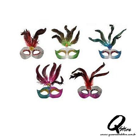 Máscara Veneziana c/ Pena - 5 unidades