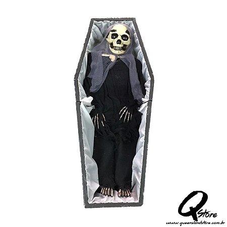 Boneco Halloween Caixão Caveira c/ Movimento  - 1 Unidade